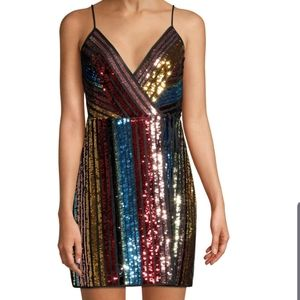 NWT BCBGMAXAZRIAMulticolor Eve SequinRainbow Dress